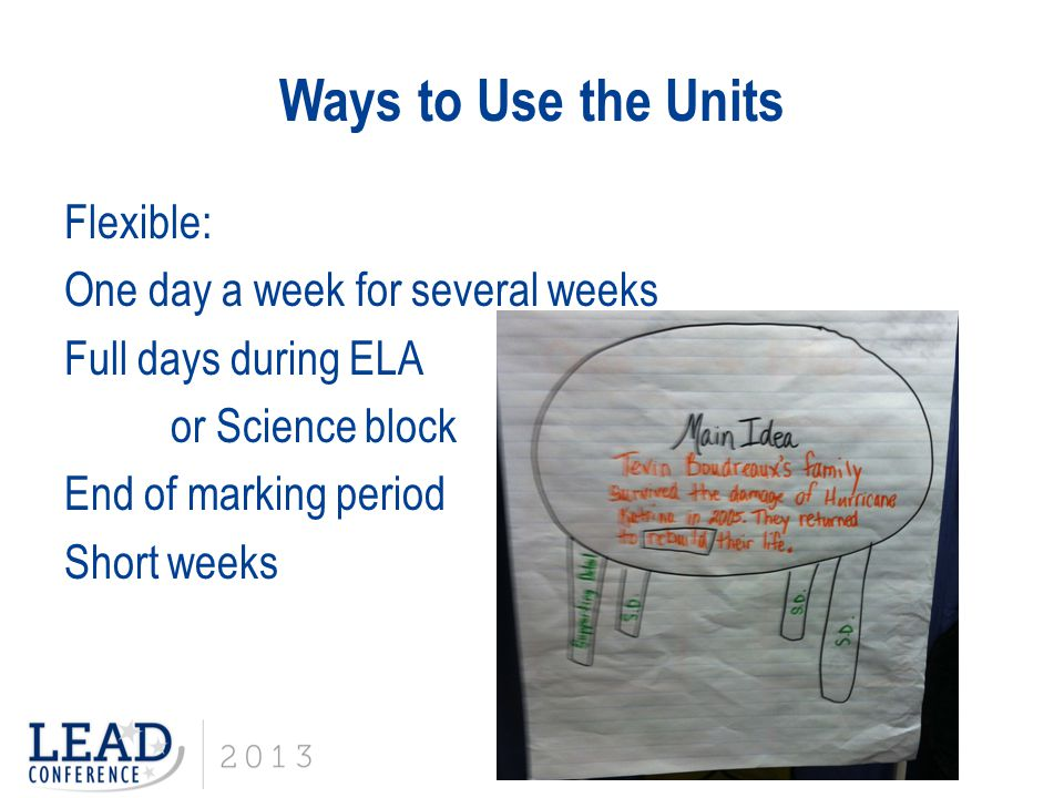 What Teachers Need: A District Perspective Differentiating the Units Scaffolding supports