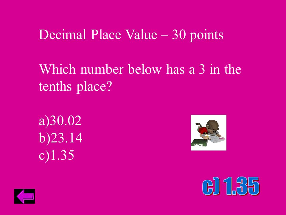 Decimal Place Value – 40 points The digit 2 appears twice in the number 2.046728.
