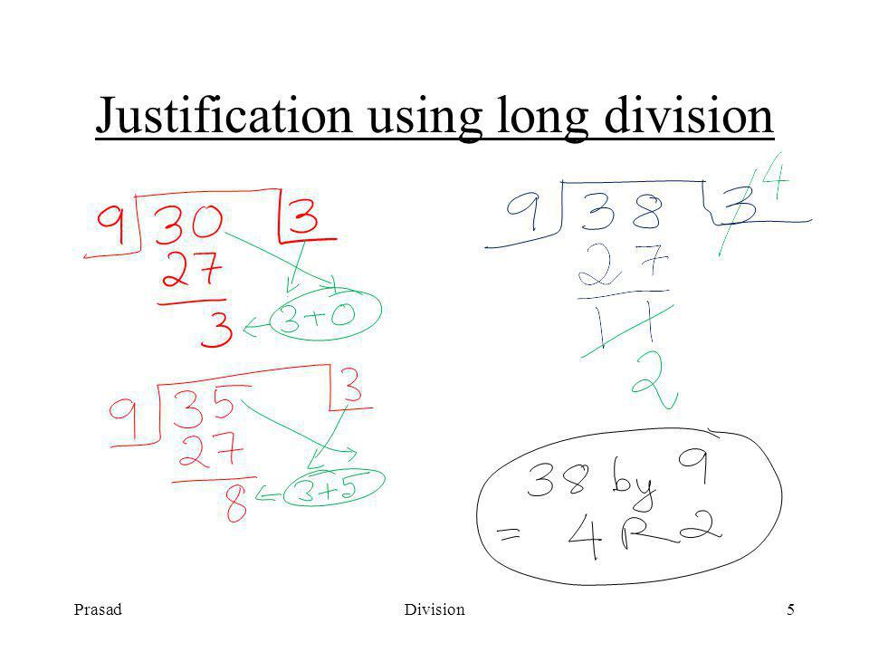 PrasadDivision4 Division by nine : Boundary Condition 342 by 9 = 37 R 9 OOPS.