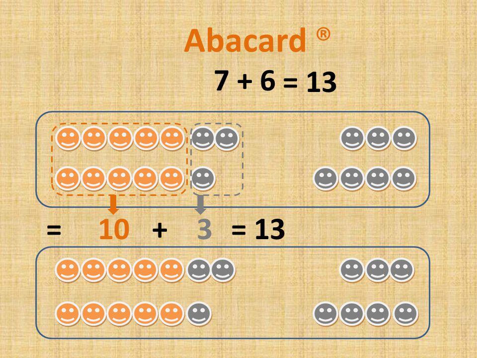 7 + 7 = 10 + 4= 14 Abacard ® = 14