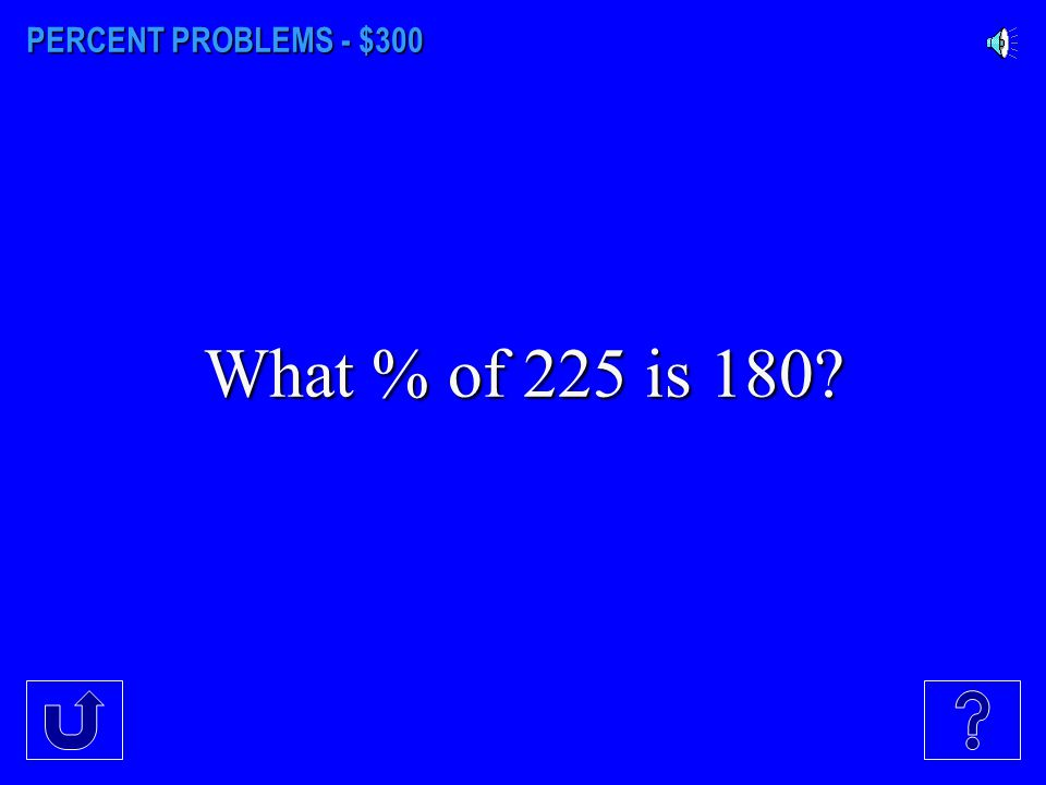 PERCENT PROBLEMS - $200 15% of what # is 90?