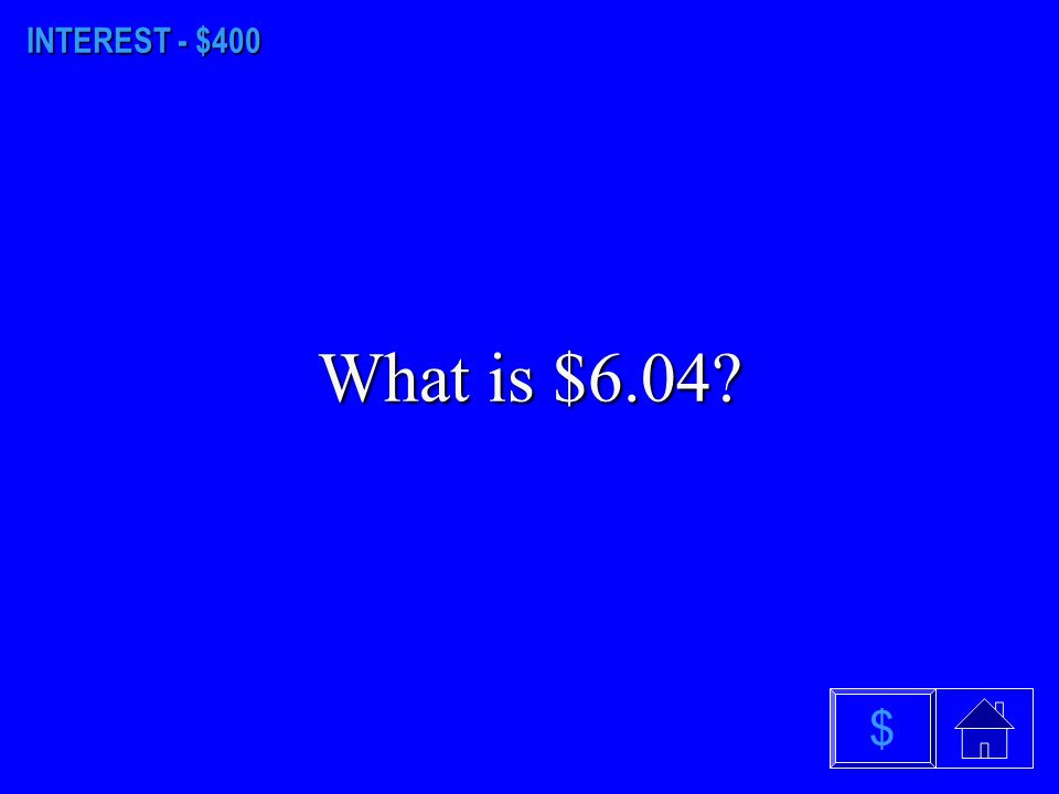 INTEREST - $300 What is $19.43? $