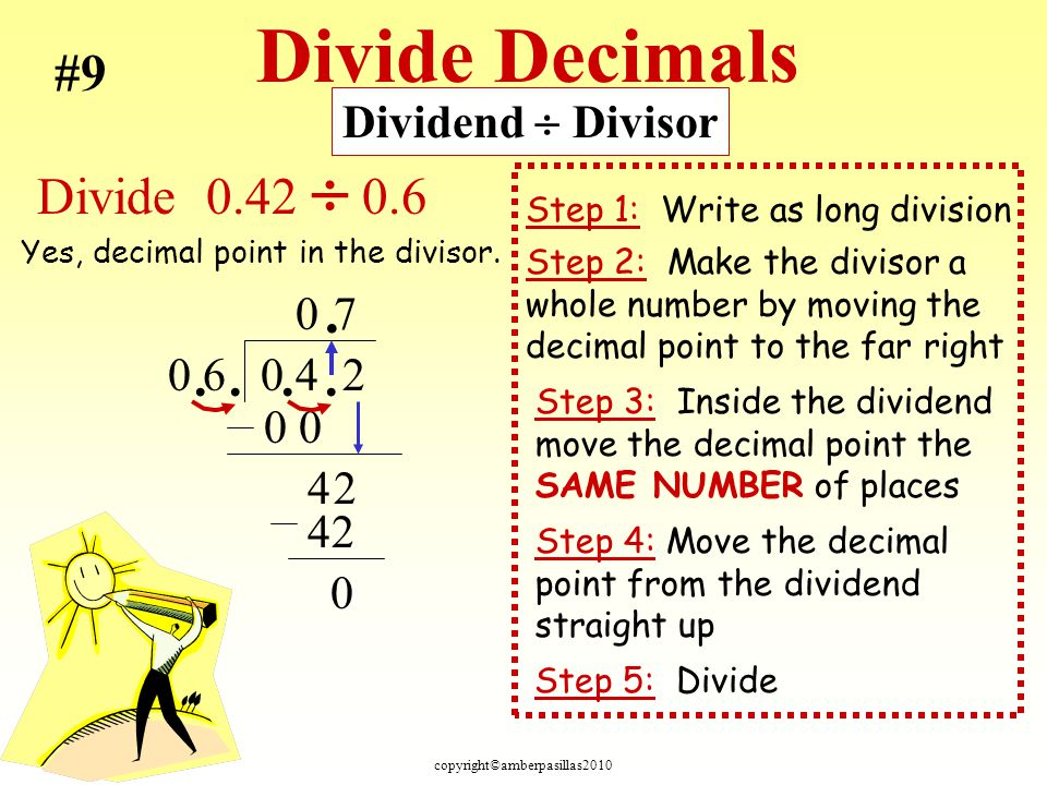 copyright©amberpasillas2010 Divide Decimals Step 2: Make the divisor a whole number by moving the decimal point to the far right Step 5: Divide Step 1