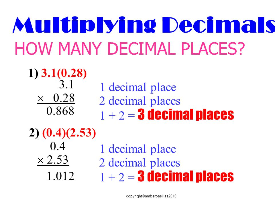copyright©amberpasillas2010 Multiplying Decimals HOW MANY DECIMAL PLACES.