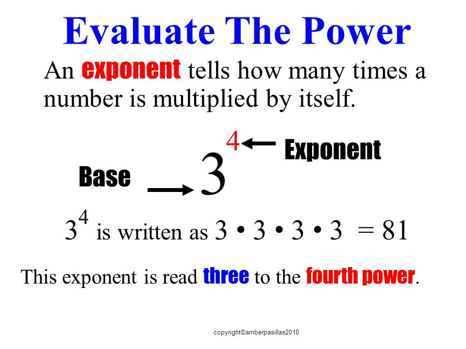 copyright©amberpasillas2010 Evaluate The Power An exponent tells how many times a number is multiplied by itself.