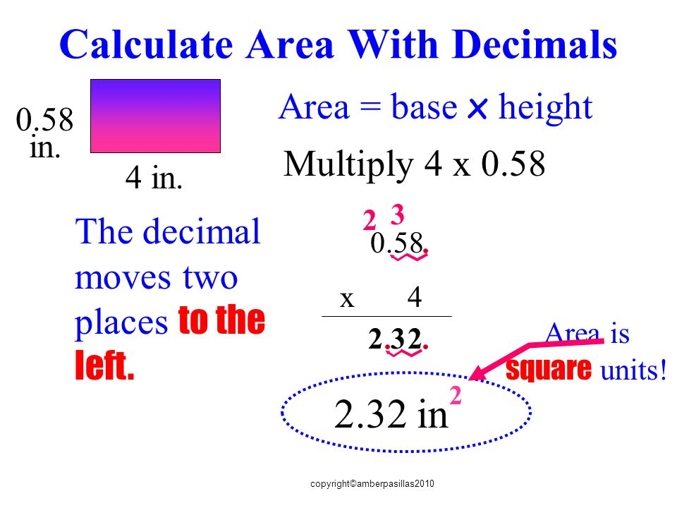 copyright©amberpasillas2010 Calculate Area With Decimals 4 in.