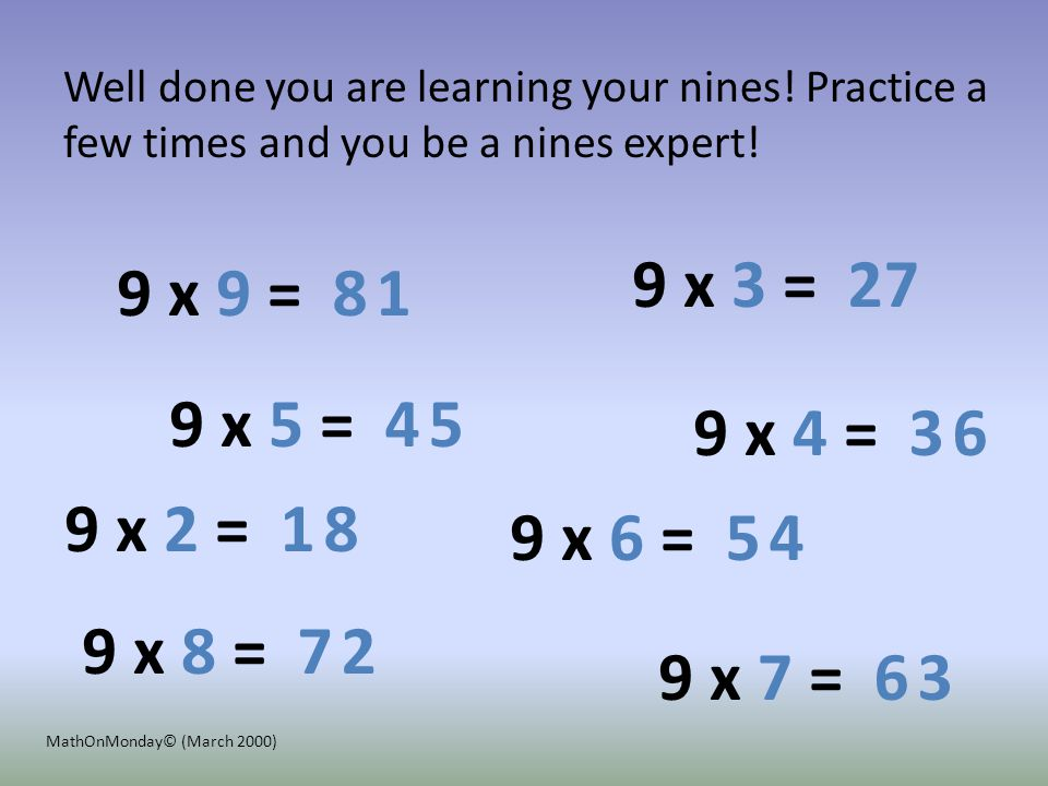 9 x 4 = 9 x 2 = 9 x 3 = 9 x 5 = 9 x 6 = 9 x 7 = 9 x 9 = 9 x 8 = 3 1 2 8 4 5 6 1 7 8 5 6 7 2 4 3 Click your mouse to see that you learned your 9s.