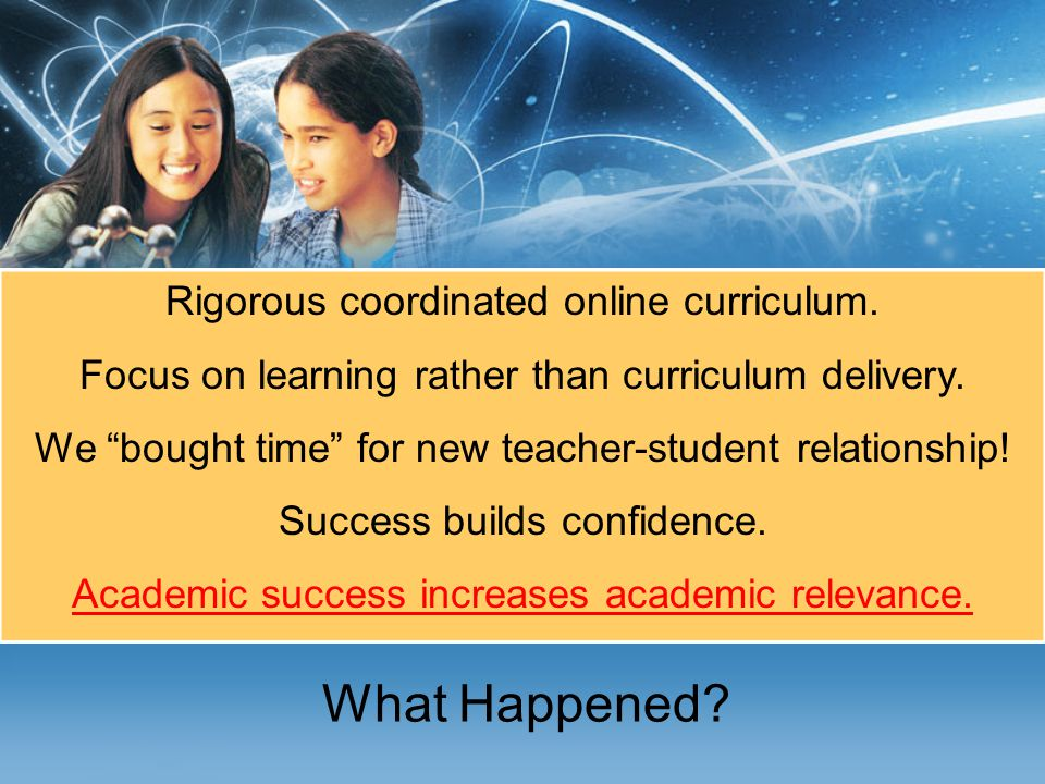 What Happened.Rigorous coordinated online curriculum.