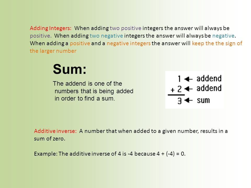 Adding Integers: When adding two positive integers the answer will always be positive. When adding two negative integers the answer will always be neg
