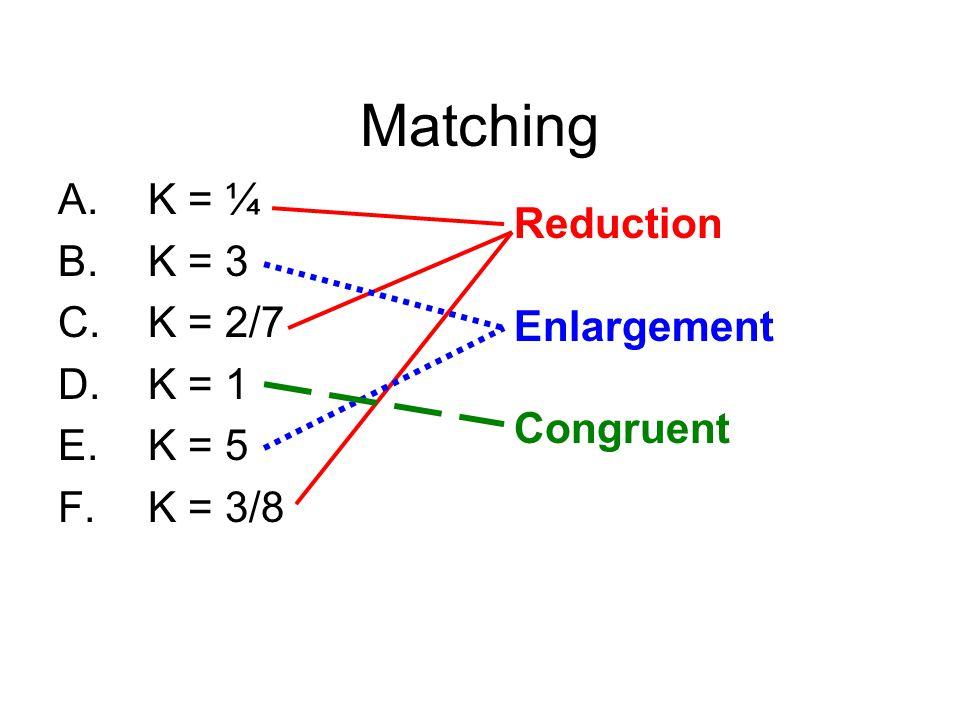 Matching A.K = ¼ B.K = 3 C.K = 2/7 D.K = 1 E.K = 5 F.K = 3/8 Reduction Enlargement Congruent