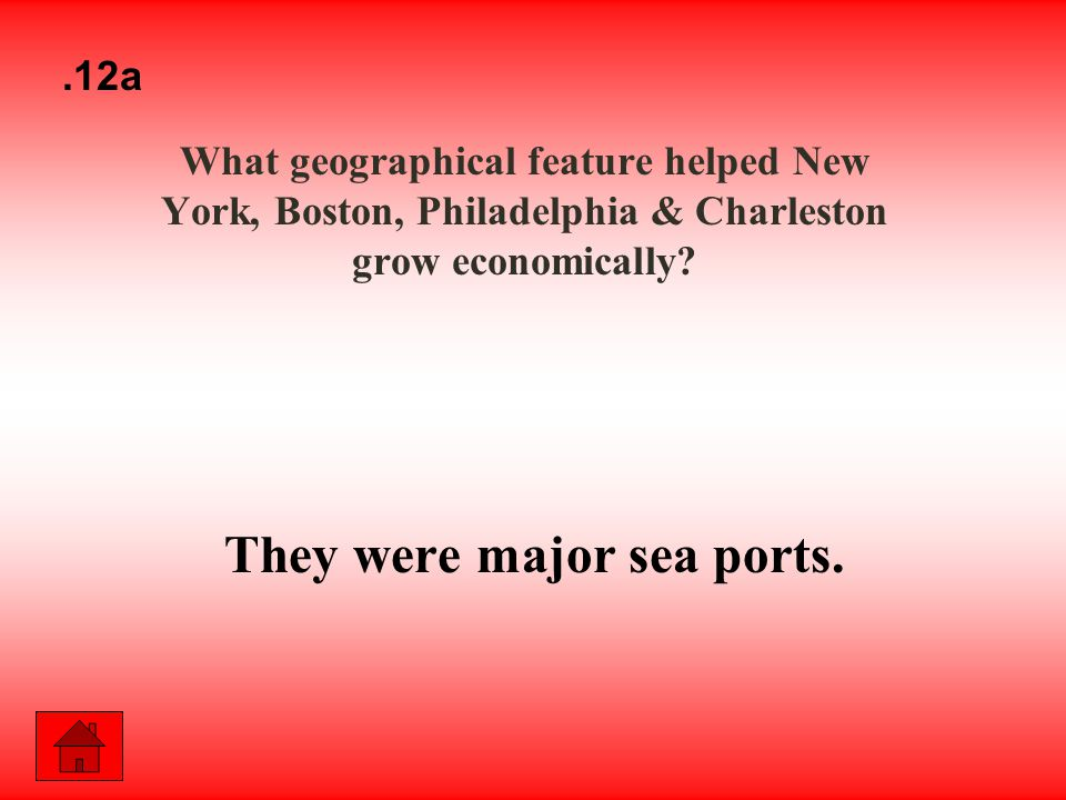 What geographical feature helped New York, Boston, Philadelphia & Charleston grow economically.