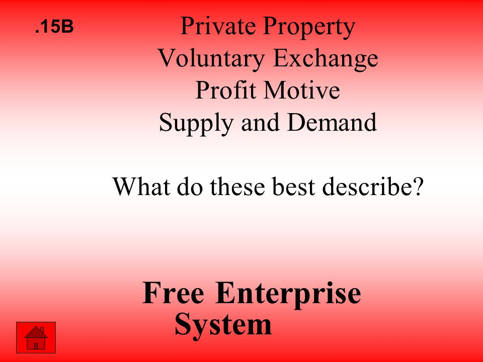 Private Property Voluntary Exchange Profit Motive Supply and Demand What do these best describe.