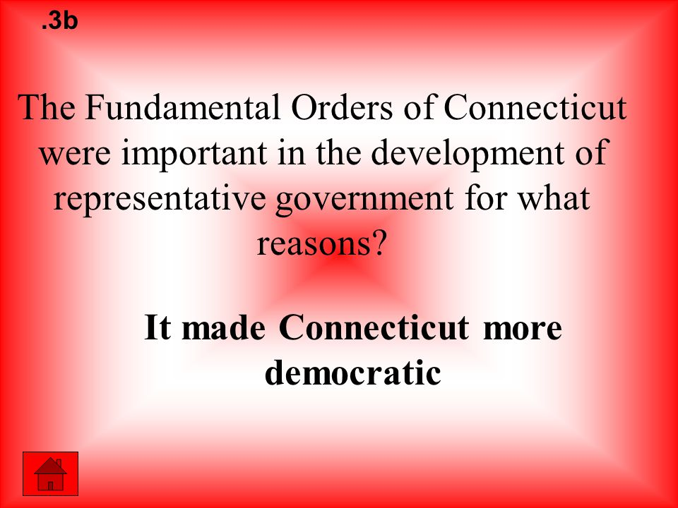 The Fundamental Orders of Connecticut were important in the development of representative government for what reasons.