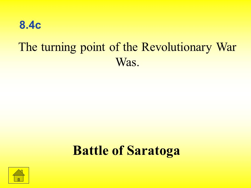 The turning point of the Revolutionary War Was. Battle of Saratoga 8.4c