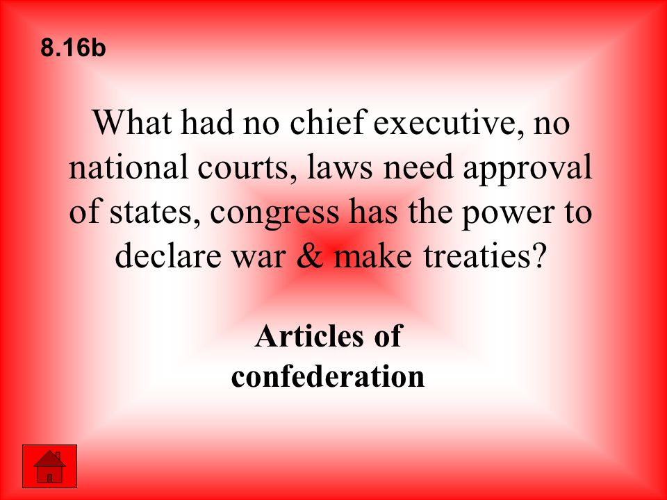 What had no chief executive, no national courts, laws need approval of states, congress has the power to declare war & make treaties? Articles of conf