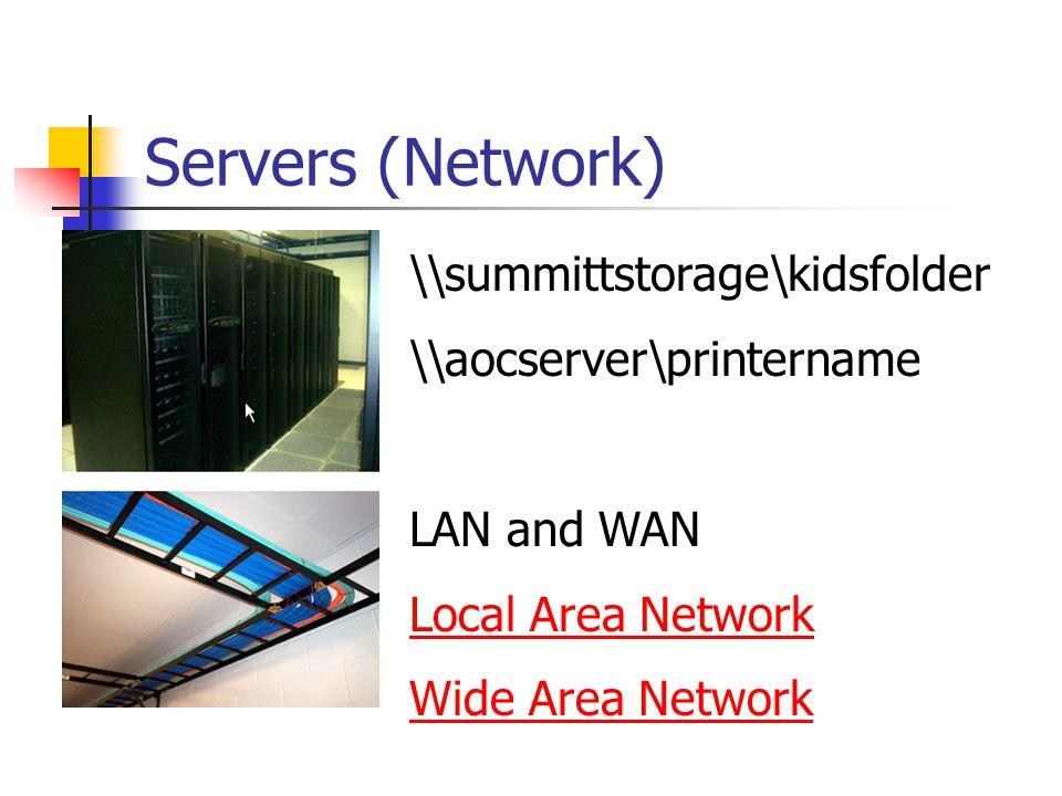 Servers (Network) \\summittstorage\kidsfolder \\aocserver\printername LAN and WAN Local Area Network Wide Area Network
