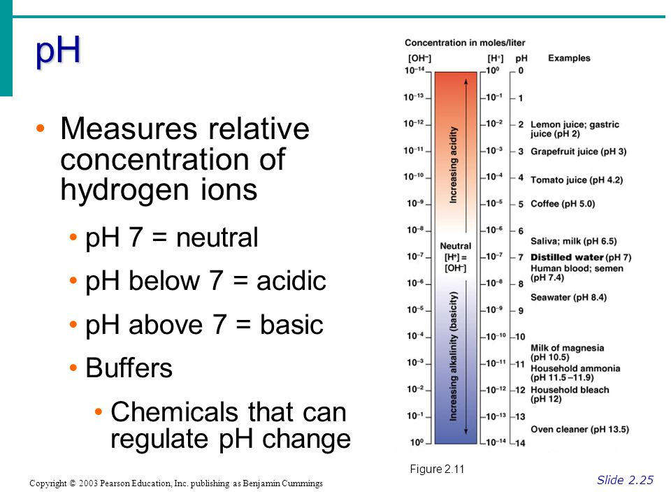 pH Slide 2.25 Copyright © 2003 Pearson Education, Inc. publishing as Benjamin Cummings Measures relative concentration of hydrogen ions pH 7 = neutral