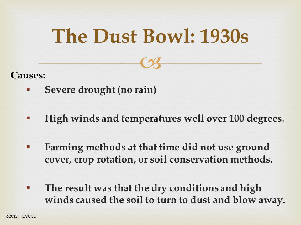  Causes:  Severe drought (no rain)  High winds and temperatures well over 100 degrees.  Farming methods at that time did not use ground cover, cro