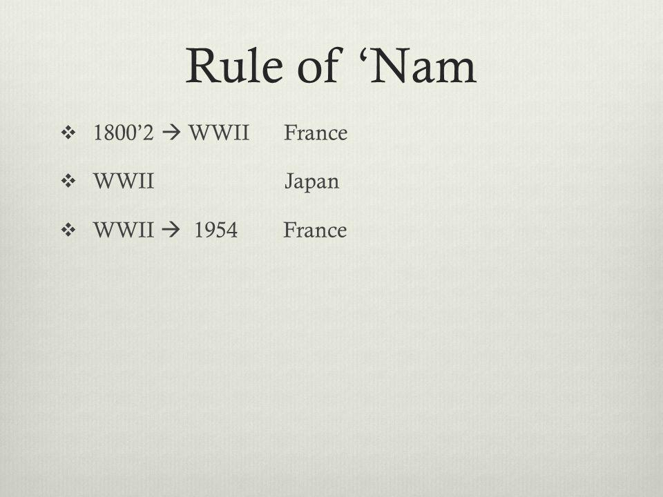 Rule of 'Nam  1800'2  WWII France  WWII Japan  WWII  1954 France