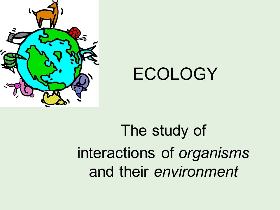 ECOLOGY The study of interactions of organisms and their environment