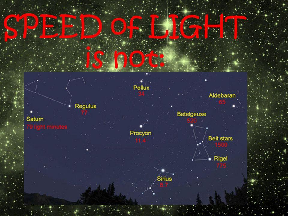 SPEED of LIGHT is not: