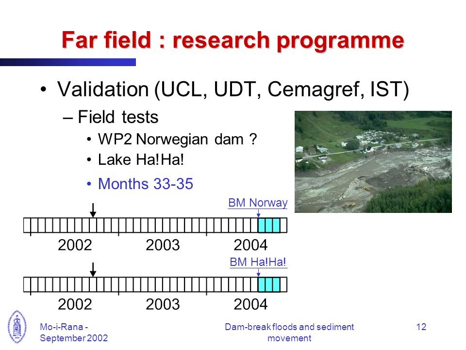 Mo-i-Rana - September 2002 Dam-break floods and sediment movement 12 Far field : research programme Validation (UCL, UDT, Cemagref, IST) –Field tests WP2 Norwegian dam .