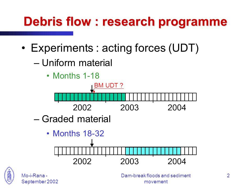 Mo-i-Rana - September 2002 Dam-break floods and sediment movement 2 Debris flow : research programme Experiments : acting forces (UDT) –Uniform material Months 1-18 –Graded material Months 18-32 BM UDT