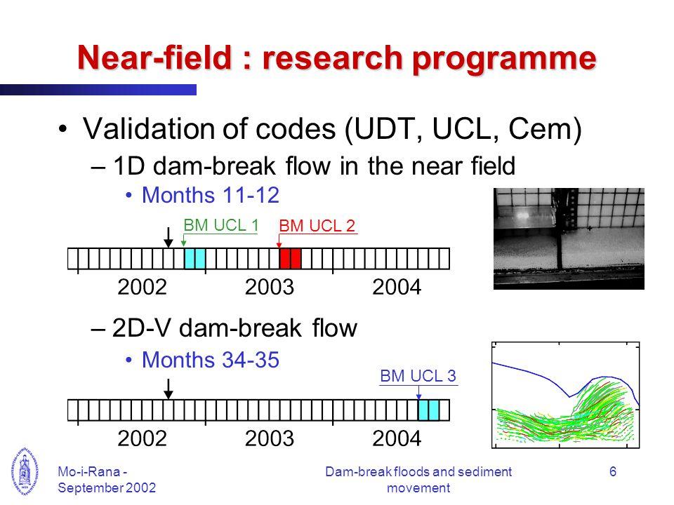 Mo-i-Rana - September 2002 Dam-break floods and sediment movement 6 Near-field : research programme Validation of codes (UDT, UCL, Cem) –1D dam-break