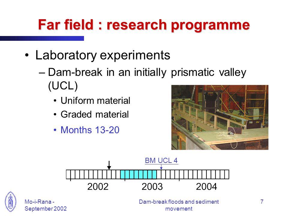 Mo-i-Rana - September 2002 Dam-break floods and sediment movement 7 Far field : research programme Laboratory experiments –Dam-break in an initially p