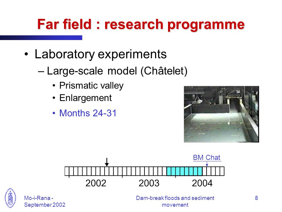 Mo-i-Rana - September 2002 Dam-break floods and sediment movement 8 Far field : research programme Laboratory experiments –Large-scale model (Châtelet
