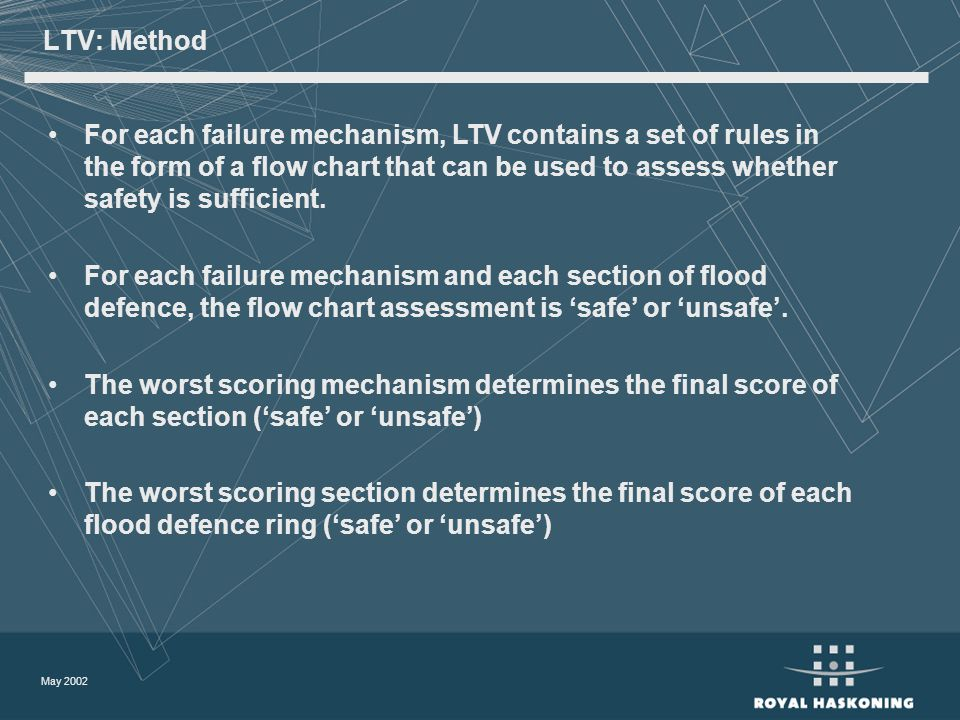 May 2002 LTV: Method For each failure mechanism, LTV contains a set of rules in the form of a flow chart that can be used to assess whether safety is