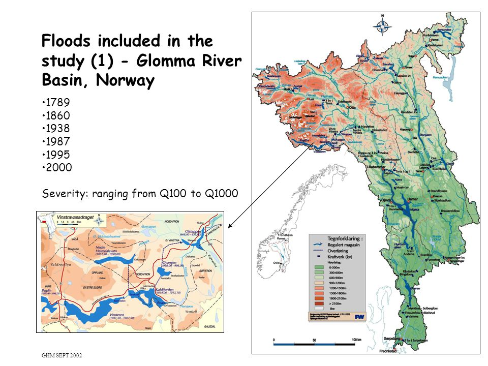 7 Floods included in the study (1) - Glomma River Basin, Norway 1789 1860 1938 1987 1995 2000 Severity: ranging from Q100 to Q1000 GHM SEPT 2002