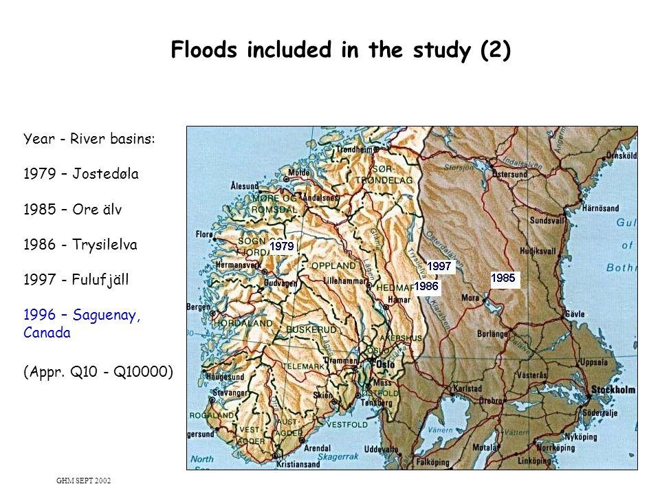 8 Floods included in the study (2) Year - River basins: 1979 – Jostedøla 1985 – Ore älv 1986 - Trysilelva 1997 - Fulufjäll 1996 – Saguenay, Canada (Ap