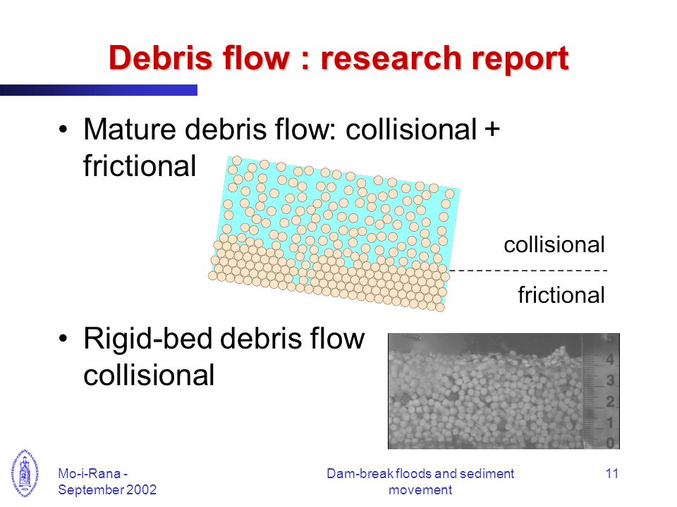 Mo-i-Rana - September 2002 Dam-break floods and sediment movement 11 Debris flow : research report Mature debris flow: collisional + frictional Rigid-bed debris flow collisional