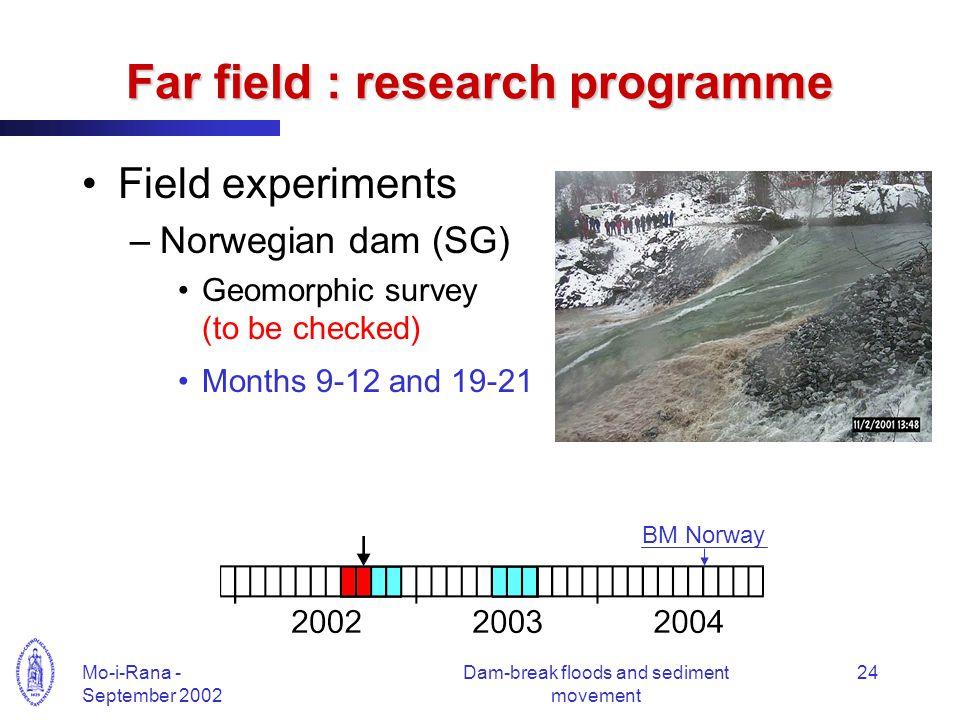 Mo-i-Rana - September 2002 Dam-break floods and sediment movement 24 Far field : research programme Field experiments –Norwegian dam (SG) Geomorphic s