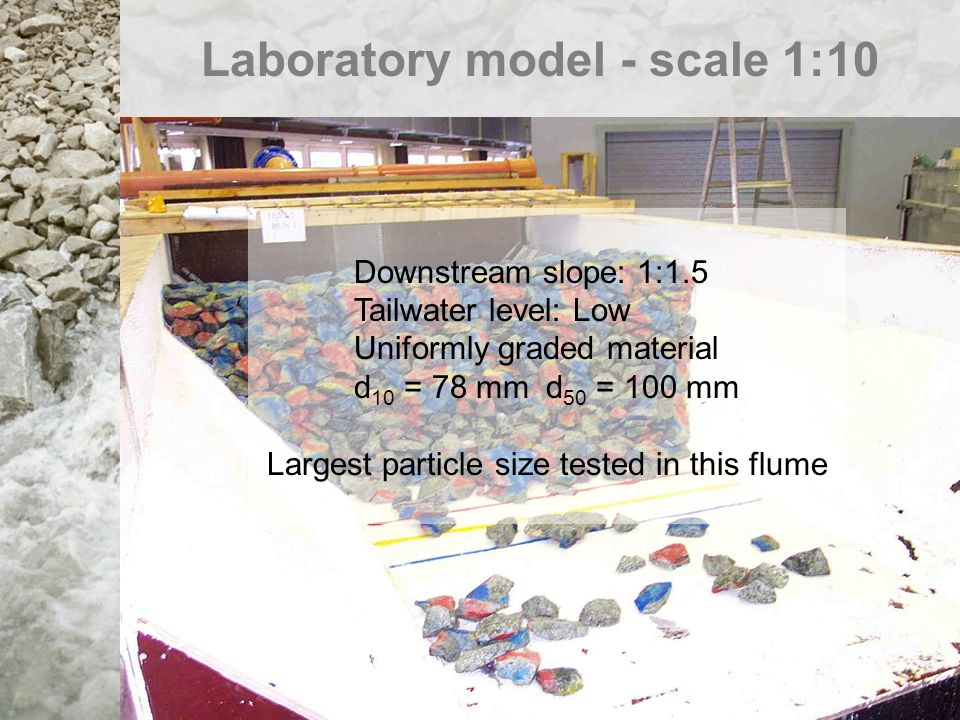 Laboratory model - scale 1:10 Downstream slope: 1:1.5 Tailwater level: Low Uniformly graded material d 10 = 5 mmd 50 = 11 mm Smallest particle size te