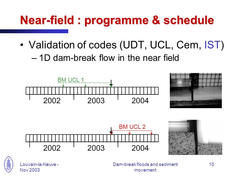 Louvain-la-Neuve - Nov 2003 Dam-break floods and sediment movement 10 Near-field : programme & schedule Validation of codes (UDT, UCL, Cem, IST) –1D dam-break flow in the near field BM UCL 1 BM UCL 2