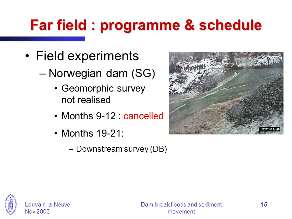 Louvain-la-Neuve - Nov 2003 Dam-break floods and sediment movement 15 Far field : programme & schedule Field experiments –Norwegian dam (SG) Geomorphic survey not realised Months 9-12 : cancelled Months 19-21: –Downstream survey (DB)
