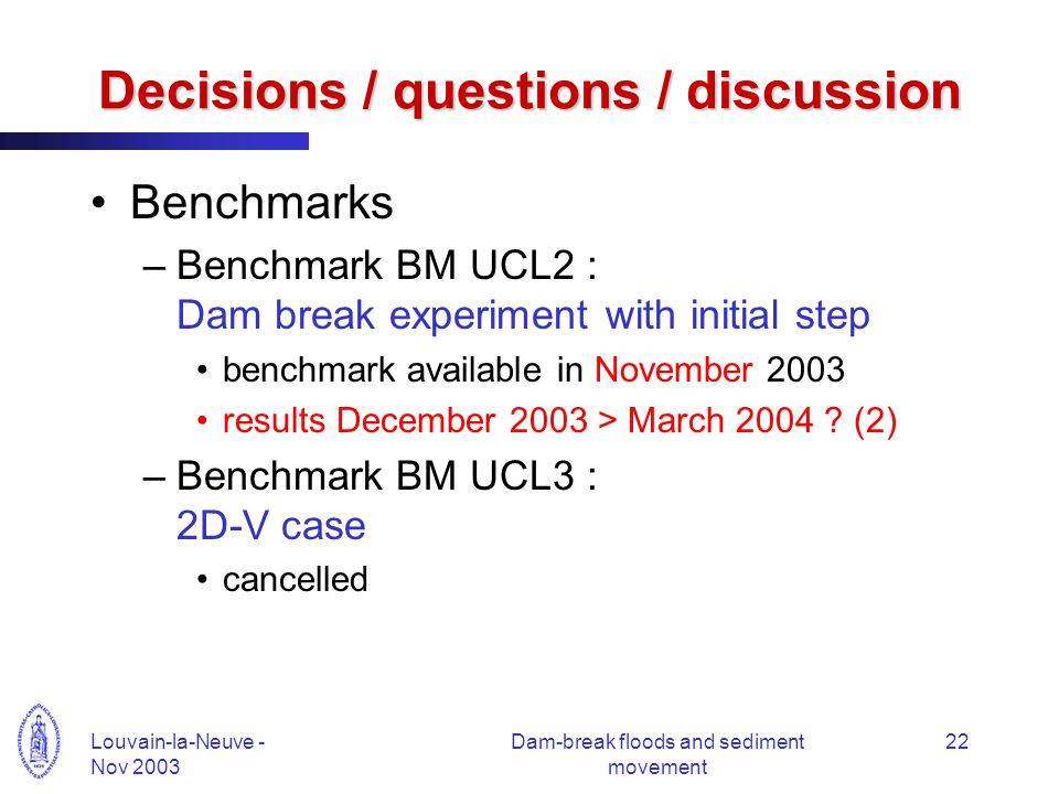 Louvain-la-Neuve - Nov 2003 Dam-break floods and sediment movement 22 Decisions / questions / discussion Benchmarks –Benchmark BM UCL2 : Dam break experiment with initial step benchmark available in November 2003 results December 2003 > March 2004 .