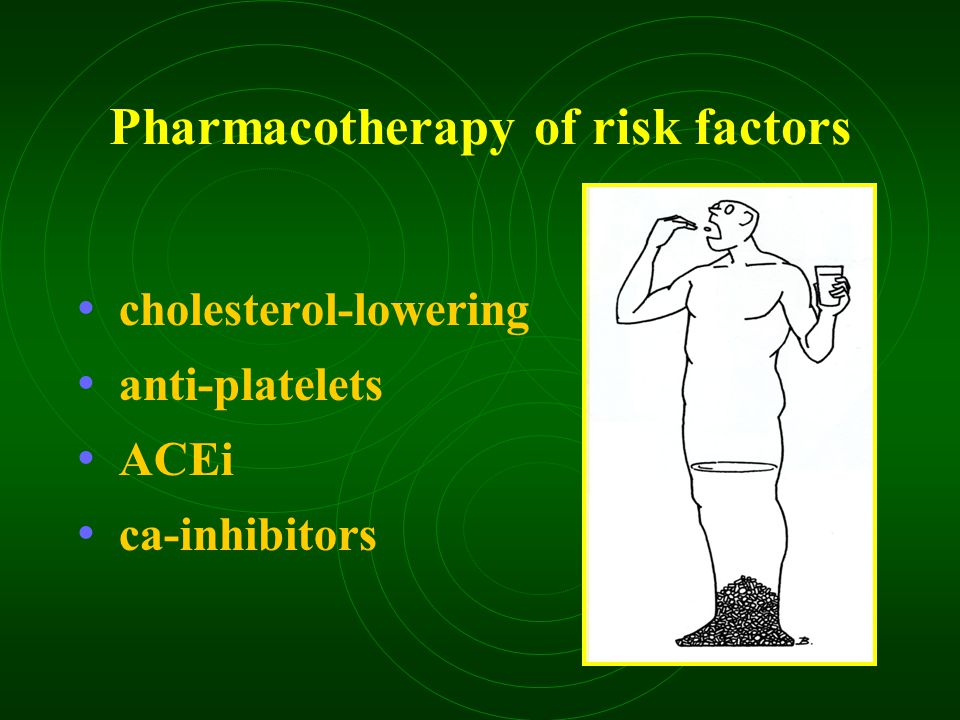 Pharmacotherapy of risk factors cholesterol-lowering anti-platelets ACEi ca-inhibitors