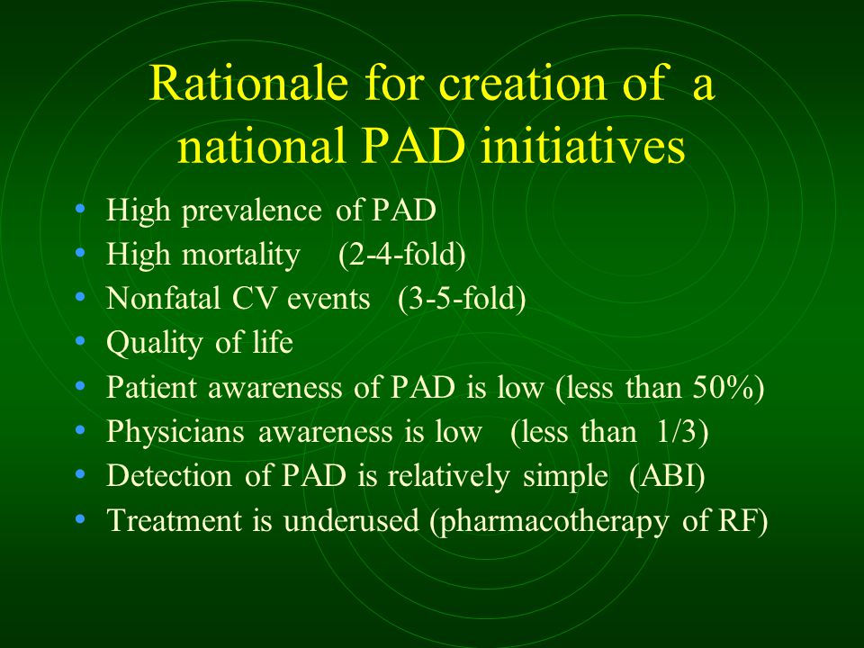Rationale for creation of a national PAD initiatives High prevalence of PAD High mortality (2-4-fold) Nonfatal CV events (3-5-fold) Quality of life Pa