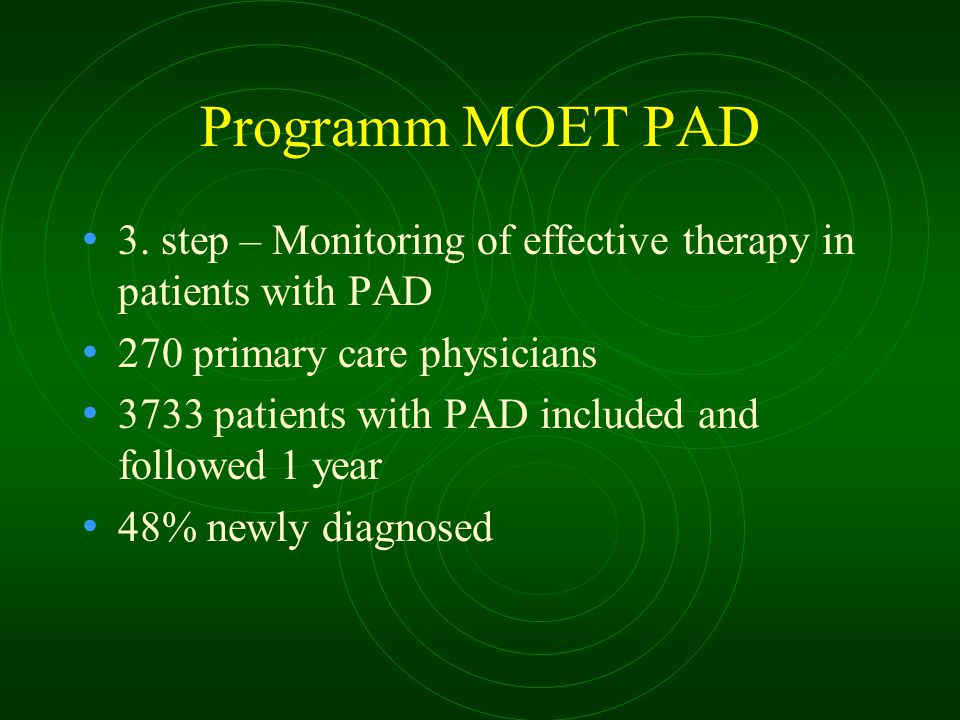 Programm MOET PAD 3. step – Monitoring of effective therapy in patients with PAD 270 primary care physicians 3733 patients with PAD included and follo