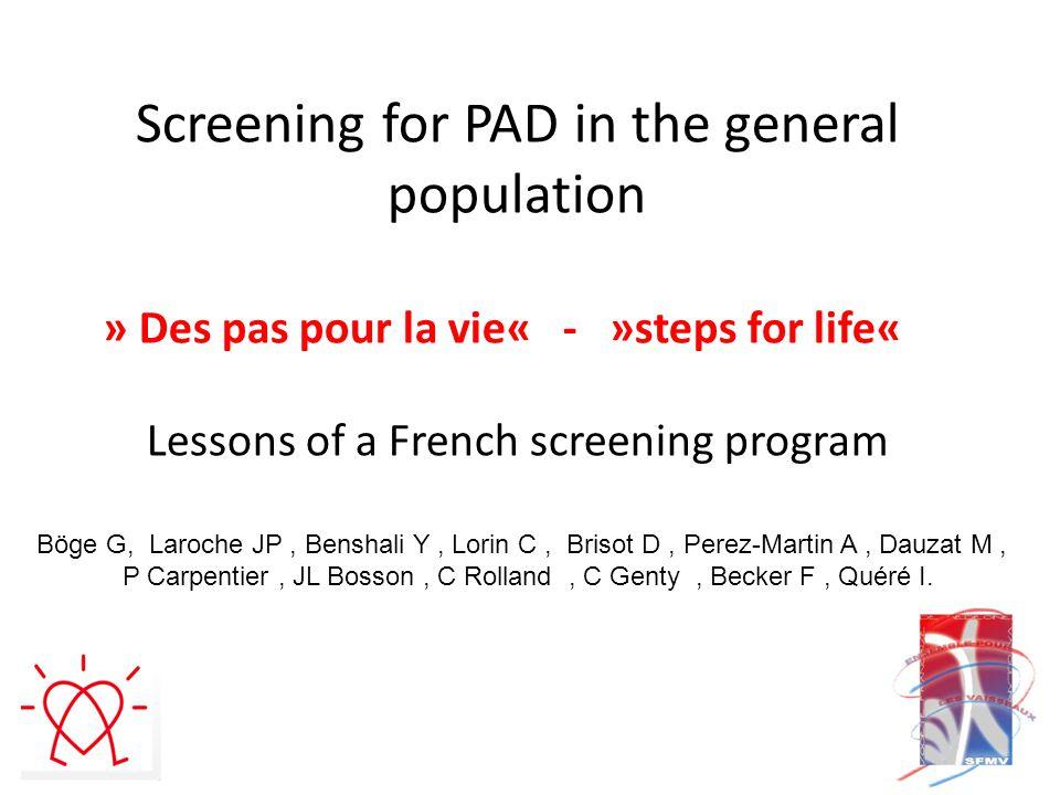 Screening of peripheral arterial disease based on ABI measurement StudypopulationPAD prevalence PARTNERS U.S.