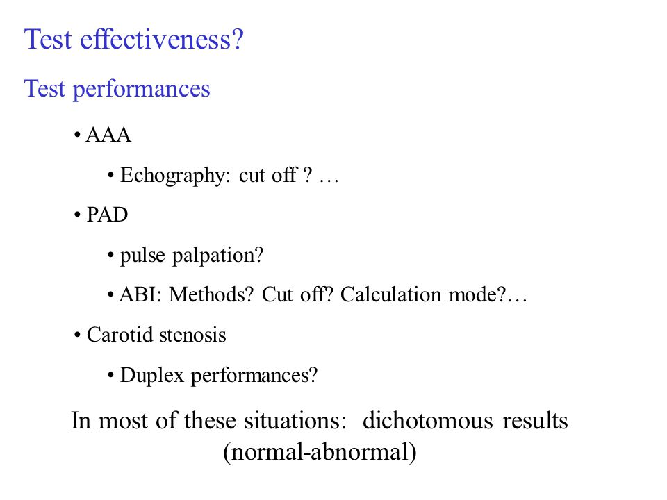 Test effectiveness. Test performances AAA Echography: cut off .
