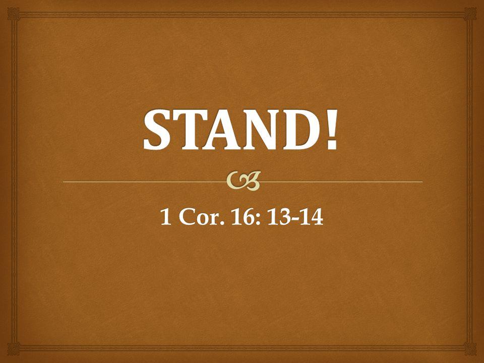 1 Cor. 16: 13-14