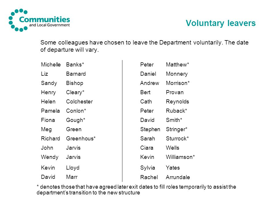Voluntary leavers Some colleagues have chosen to leave the Department voluntarily. The date of departure will vary. MichelleBanks*PeterMatthew* LizBar