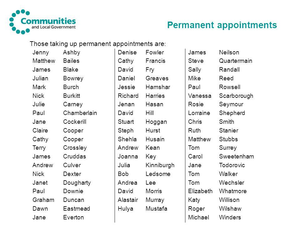 Permanent appointments Those taking up permanent appointments are : JennyAshbyDeniseFowlerJamesNeilson MatthewBailesCathyFrancisSteveQuartermain James