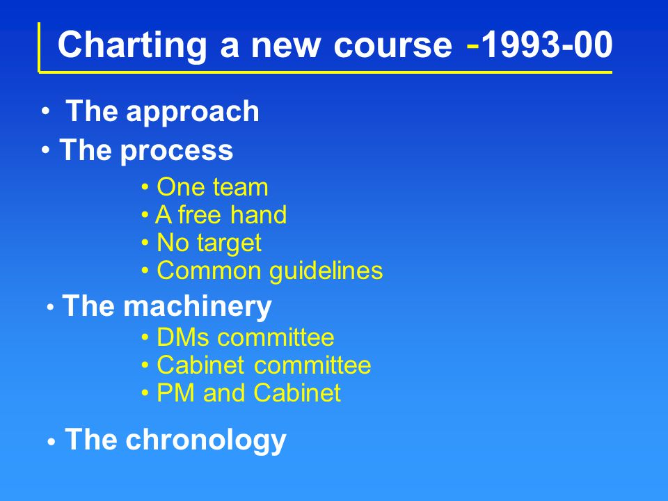 Charting a new course - 1993-00 The approach One team A free hand No target The process Common guidelines The machinery DMs committee Cabinet committe