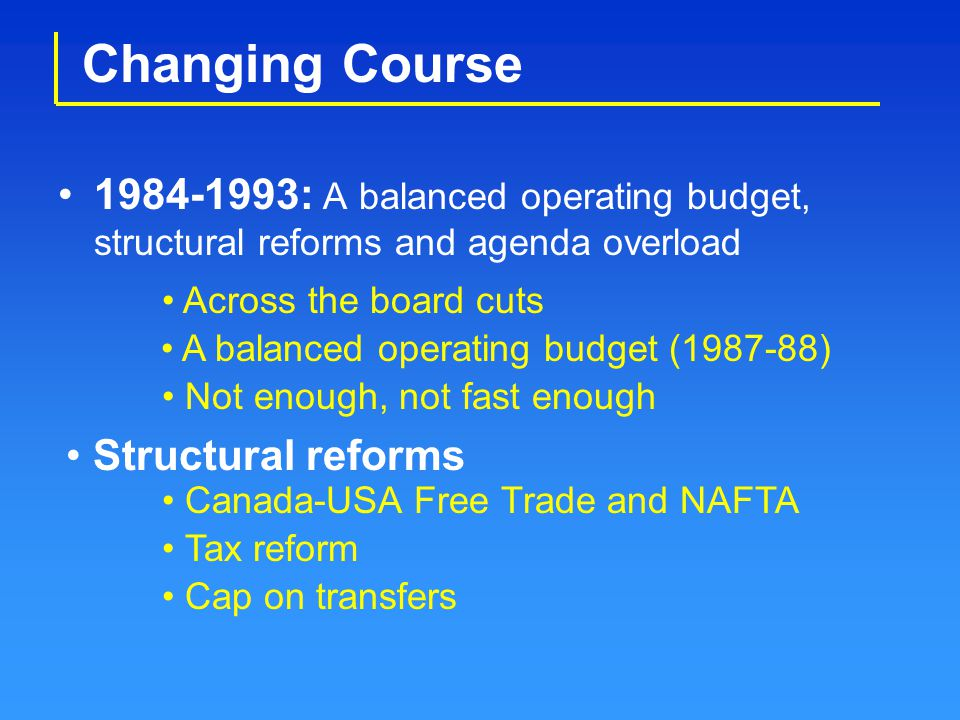 Changing Course 1984-1993: A balanced operating budget, structural reforms and agenda overload Across the board cuts A balanced operating budget (1987