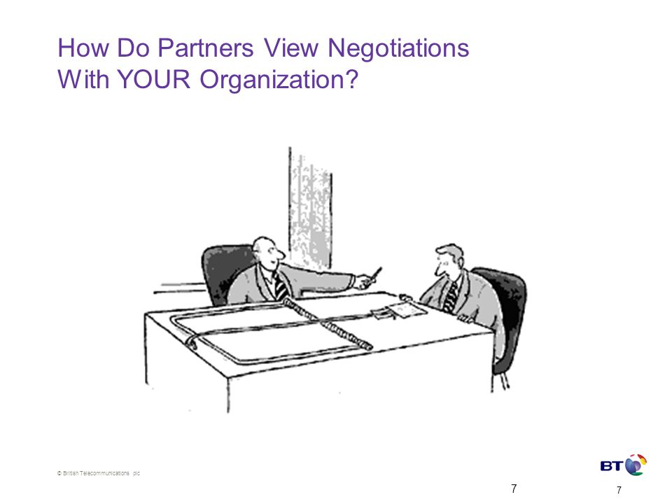 © British Telecommunications plc 7 7 How Do Partners View Negotiations With YOUR Organization